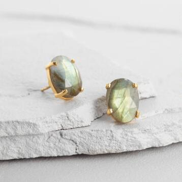 Gold and Labradorite Stud Earrings